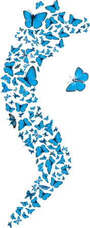 swarm: Swarm of flying blue butterflies making S form.