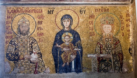 The Comnenus mosaics from the Hagia Sophia Cathedral in Istanbul, Turkey. It shows Emperor John II (1118�1143) on the left, the Virgin Mary and infant Jesus in the centre, and Empress Irene on the right.