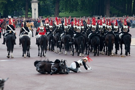 LONDON - JUNE 11: Royals horse Guard falls off horse at Trooping the Colour ceremony in London June 11, 2011. Ceremony is performed by regiments on the occasion of the Queen's Official Birthday Stock Photo - 9890856