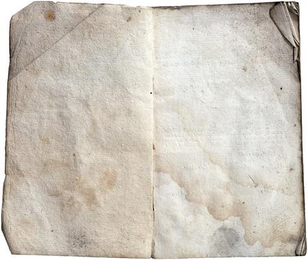 Oud geopende notitie boek met lege gekleurde platen die op wit met het knippen weg.