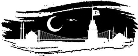 turkey istanbul: Tamponare silhouette vettoriale di skyline di Istanbul nel pennello nero Vettoriali