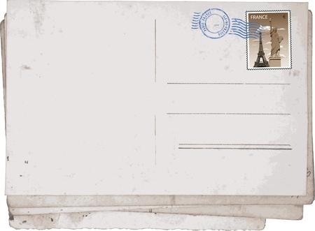Achterzijde van Oude vintage ansichtkaarten van Parijs.