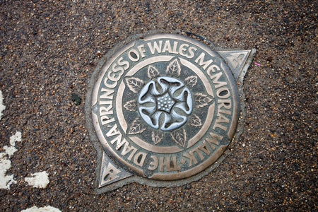 Marker of The Diana, Princess of Wales, Memorial Walk in the ground