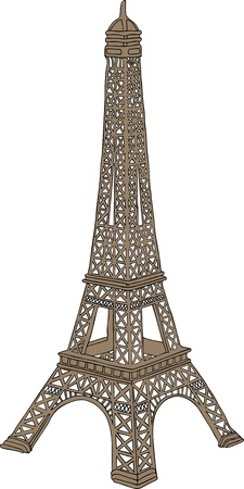 european culture: Hand drawn vector illustration of Eiffel tower in Paris, France