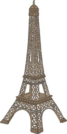 Main dessinée illustration vectorielle de la tour Eiffel à Paris, France Illustration