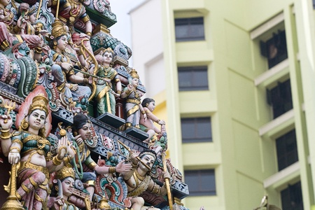 shakti: SINGAPORE – JUNE 21: Statues of Sri Veeramakaliamman Temple on June 21, 2009 in Singapore. This Hindu temple is located in the middle of Little India in the southern part of Singapore. Temple is dedicated to the goddess Kali, fierce embodiment of Shakti