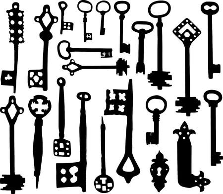 oude sleutel: Vector silhouet van ouderwetse skelet toetsen