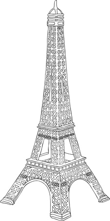 parisian: Hand drawn vector illustration of Eiffel tower in Paris, France
