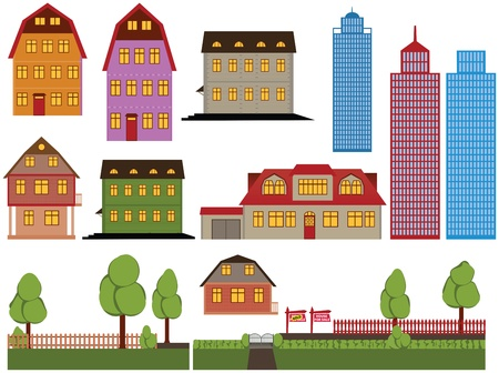 residential neighborhood: Set of vector family houses and skyscrapers Illustration