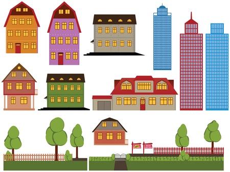 Set van vector eengezinswoningen en wolkenkrabbers