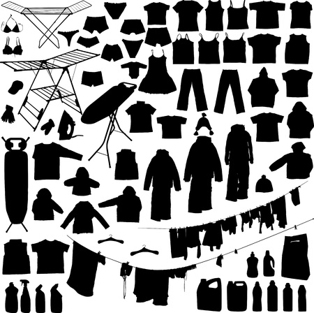 lavadora con ropa: Objetos de lavandería en blanco y negro siluetas como perchas, plancha, tabla de planchar detergente, etc vestir a la línea