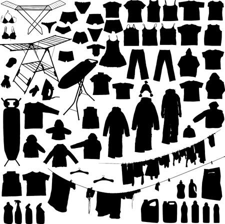 Objets blanchisserie silhouettes en noir et blanc, y compris des cintres, fer de détergent, planche à repasser, etc ligne vêtement