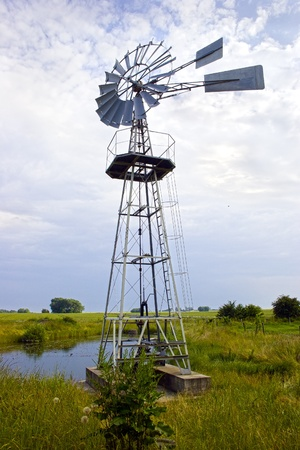 multi bladed wind powered water pump stock photo picture and