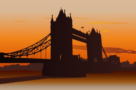 london tower bridge: Illustration of Tower Bridge in London at sunset