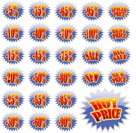 Set of Blue discount label stars with red text Vectores