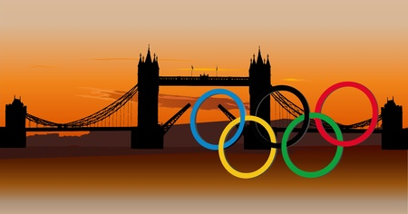 Anelli olimpici con Sunset Tower Bridge in background, London, UK