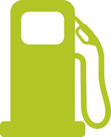 filling station: Gas pump sign. Green vector illustration