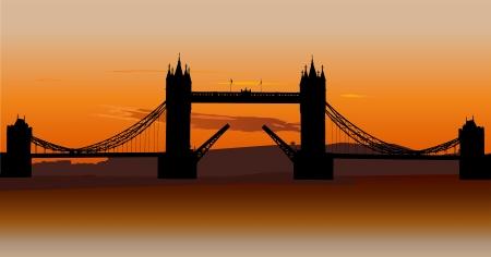 London Tower Bridge with orange sunset sky, London, UK.  Vector
