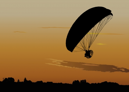 hang gliding: Silhouette of powered paraglide or paramotor against sunset sky Illustration