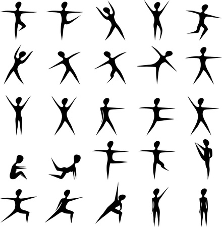 Set of stylized fitness women exercise silhouettes Vectores