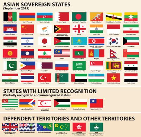 banderas del mundo: conjunto de banderas de estados soberanos de Asia (septiembre de 2012) incluida Abjasia, Nagorno-Karabaj, NorthernÂ, Chipre, Palestina, Osetia del Sur, Taiwán Editorial