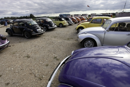 CINEVILLA, LATVIA - OCTOBER 2: Volkswagen Beetle cars Meeting on October 2, 2010 in Cinevilla, Latvia. The VW Beetle is the longest running and most manufactured car of a single design platform in the world.