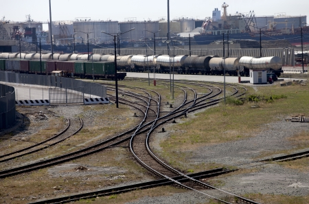 Industrial port with freight trains