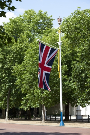 Flagpole with british flag photo