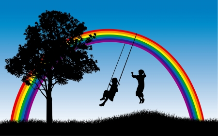 toddler playing: Girl swinging and boy jumping under rainbow