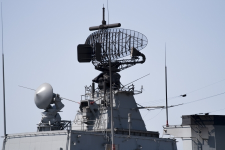 communications tower: Radar of modern military ship