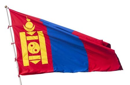 independent mongolia: Flag of Mongolia isolated on white Stock Photo