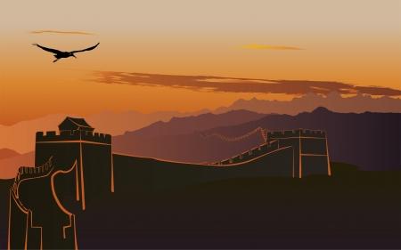 La Grande Muraille de Chine au coucher du soleil Illustration