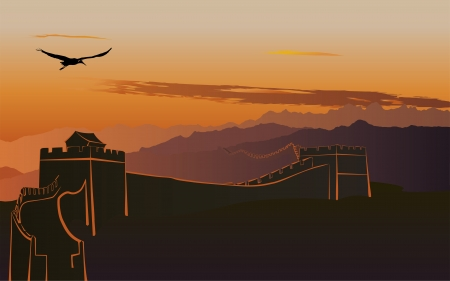 The Great Wall of China at sunset Vector