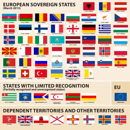 Set of Flags of European sovereign, partially recognized states and Dependent territories  March 2013   Vector