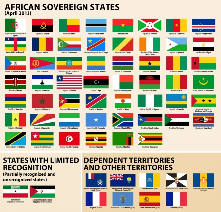 Vector set of Flags of sovereign states and other territories of Africa April 2013   Stock Vector - 18936412