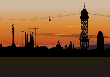 illustration of Barcelona skyline silhouette with sunset sky