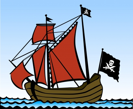 historical ship: Two masted pirate ship. Vector illustration