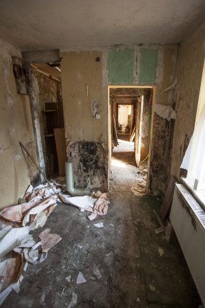 Interior of an old abandoned and rundown apartment