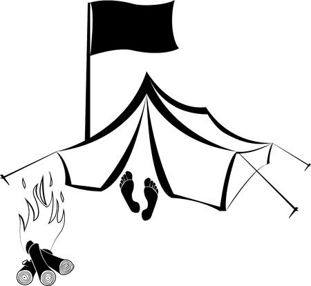 tent vector: Vector Camping site with tent and burning campfire Illustration