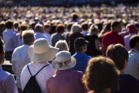 spectators: Large crowd of people watching concert or sport event