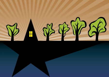 Symbolic Star shape home with trees Vector