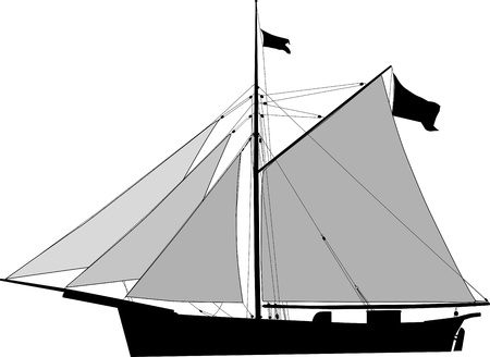 Historic Sailing cargo vessel, cutter with open sails. Vector illustration Vector
