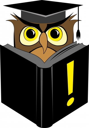knowledgeable: Vector illustration of wise owl in square graduation cap reading black book