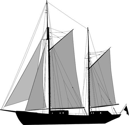 ketch: Vector illustration of two masted sailing ship ketch Illustration