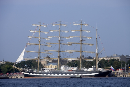 barque: RIGA, LATVIA - JULY 26: Russian tall ship Kruzenshtern during The tall ships races July 26, 2013 Riga, Latvia. Kruzenshtern is  four-masted barque and second largest traditional sailing vessel still in operation