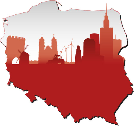 poland flag: Poland map in flag colours and symbols of business and history of state