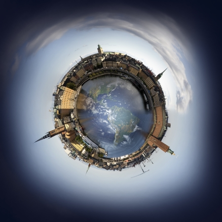 small world: Stockholm old town skyline, 360 degree miniplanet