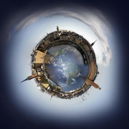 Stockholm oude stad horizon, 360 graden miniplanet