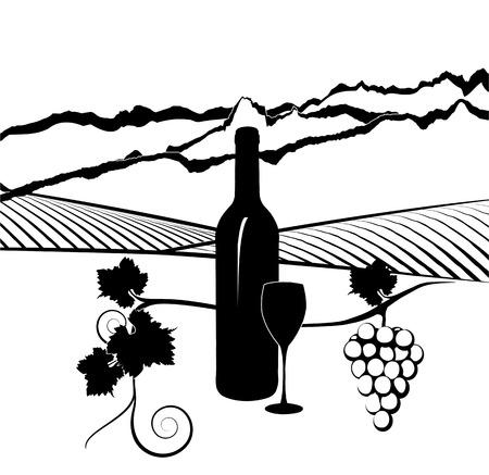 Silhouet van de fles wijn met glas en wijngaard in de achtergrond