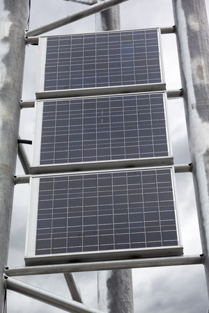 solarpanel: Solar battery panels mounted on metal frame